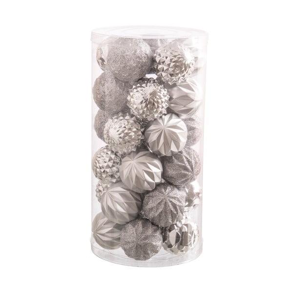 Sada 30 vánočních ozdob ve stříbrné barvě Unimasa Labbas