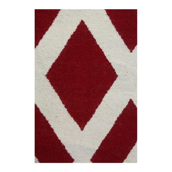 Vlněný koberec Geometry Cross Red & White, 160x230 cm
