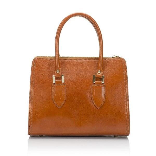 koňakově hnědá kožená kabelka Lisa Minardi Calf