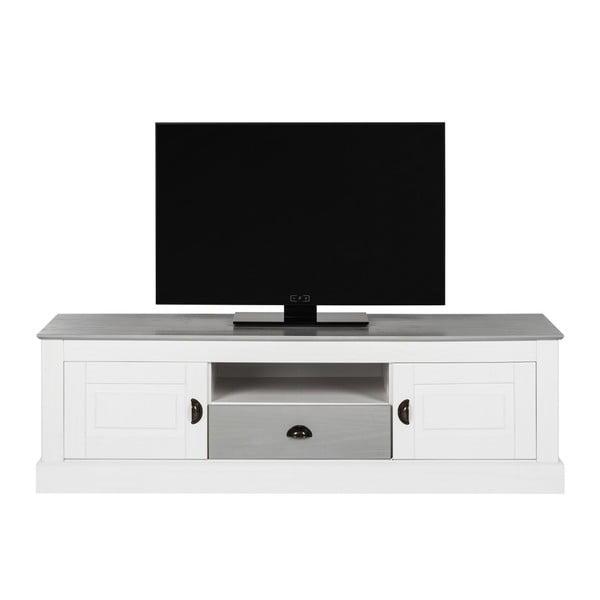 Biała szafka pod TV z drewna sosnowego Støraa Tommy