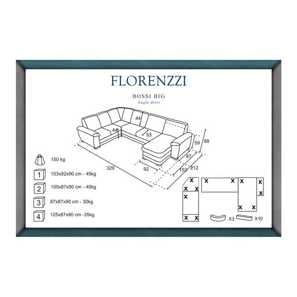 Hnědošedá pohovka Florenzzi Bossi Big, pravý roh