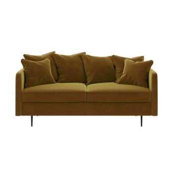 Canapea cu tapițerie din catifea Ghado Esme, 176 cm, galben închis - miere
