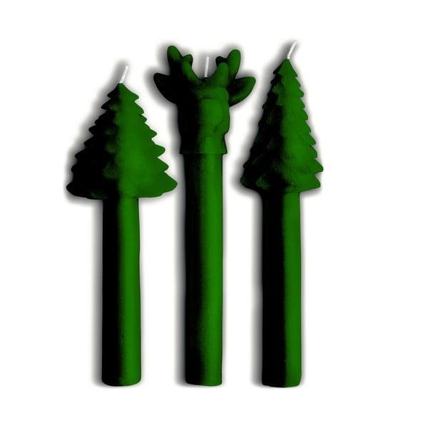 Sada 3 svíček Tree Green