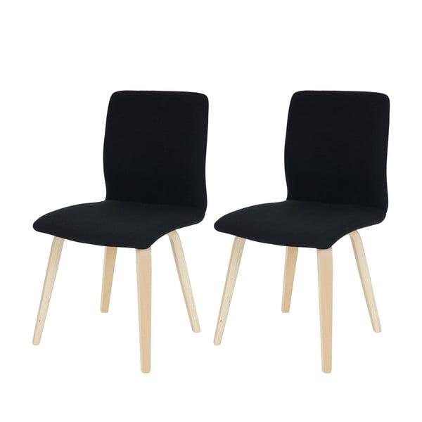 Sada 2 jídelních židlí Mountains, černý textilní potah