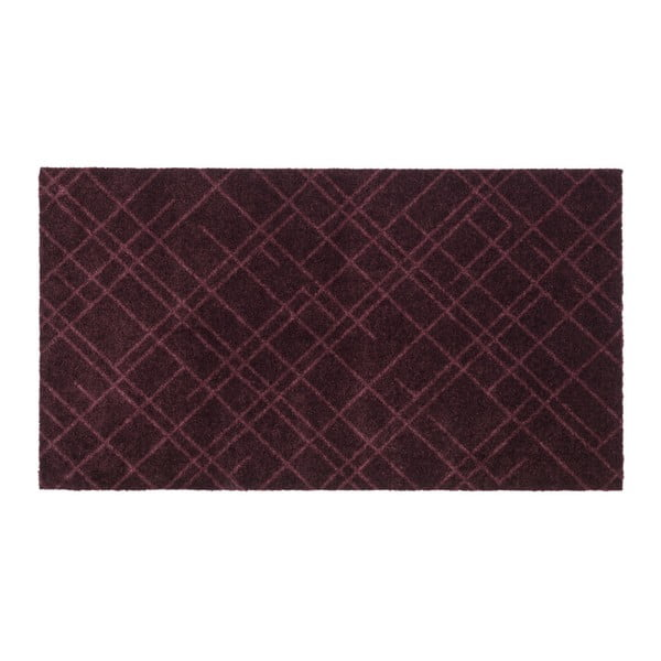 Tmavě vínová rohožka tica copenhagen Lines, 67x120cm
