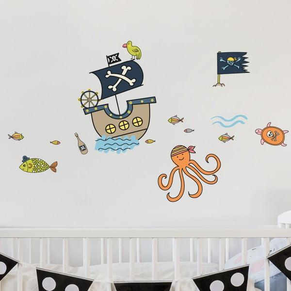 Nástěnné dětské samolepky Ambiance Pirates and Octopus Ship