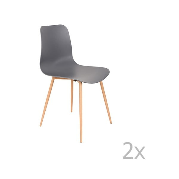 Sada 2 šedých židlí White Label Leon