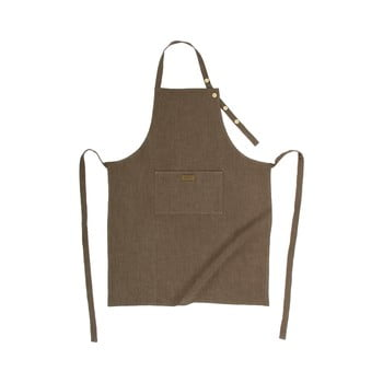 Șorț de bucătărie cu adaos de in Tiseco Home Studio, maro gri de la Tiseco Home Studio