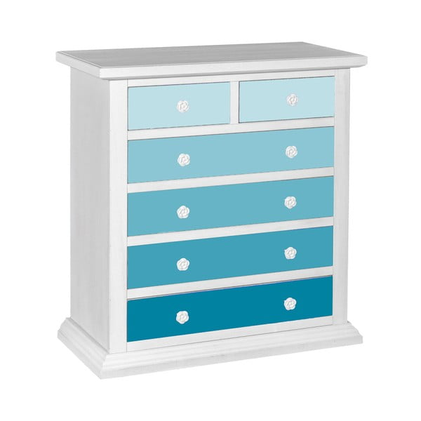 Comodă cu 6 sertare Evergreen House Sea, 86 x 94 cm, albastru - alb