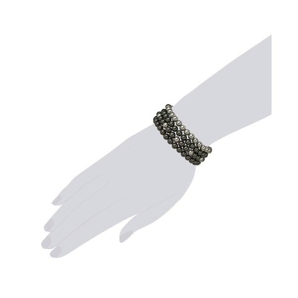 Čtyřřadý náramek s šedobílými perlami ⌀6 mm Perldesse Beria, délka 19 cm