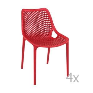 Sada 4 červených zahradních židlí Resol Grid Simple