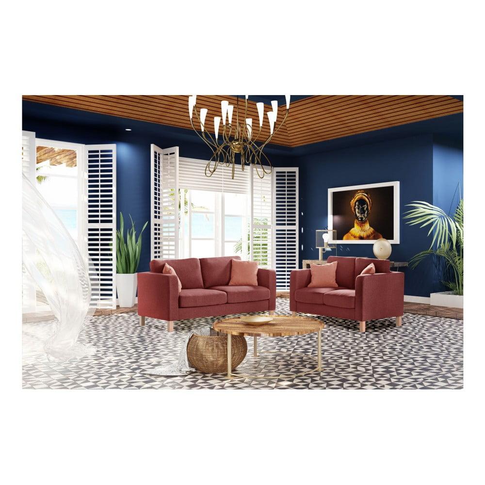 canapea cu 3 locuri stella cadente maison canoa roz cu 2 perne portocalii bonami. Black Bedroom Furniture Sets. Home Design Ideas