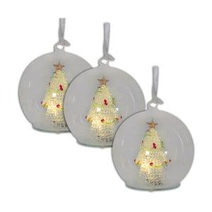 Sada 3 vánočních skleněných baněk s LED světly Naeve, Ø 13 cm