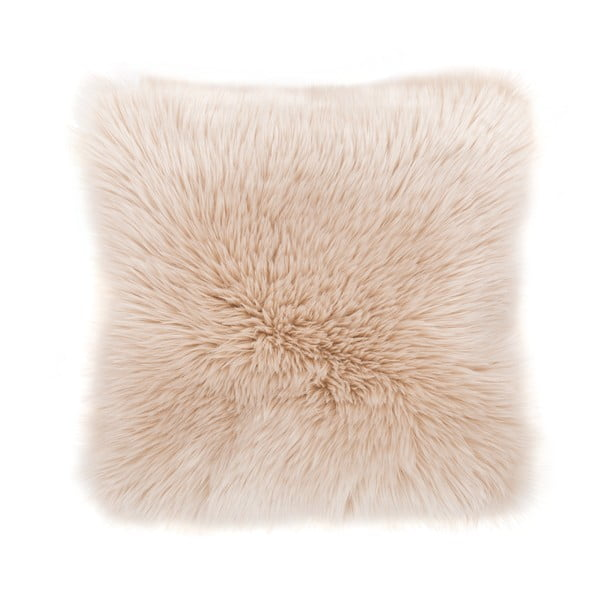 Béžový vankúš Tiseco Home Studio Sheepskin, 45 × 45 cm