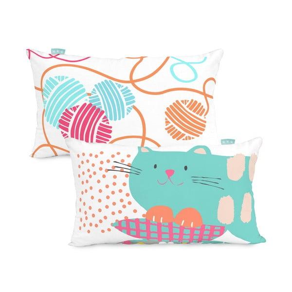 Bavlnená obojstranná obliečka na vankúš Moshi Moshi Cat & Mouse, 50×30cm