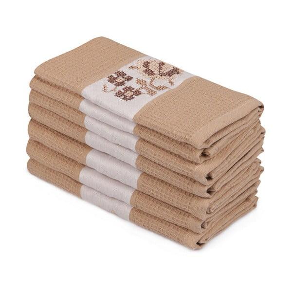Sada 6 hnědých bavlněných ručníků Simplicity, 45 x 70 cm