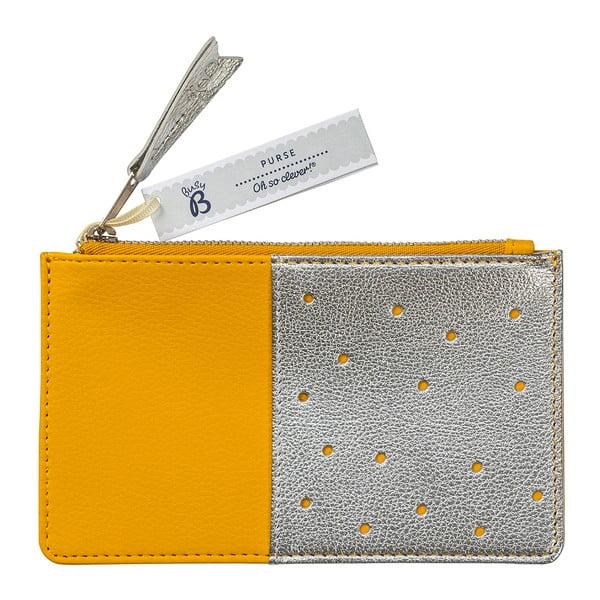 Žltá peňaženka s kapsou v striebornej farbe Busy B Flight