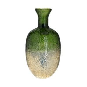 Zeleno-zlatá skleněná vázaInArt Crackles, výška40cm