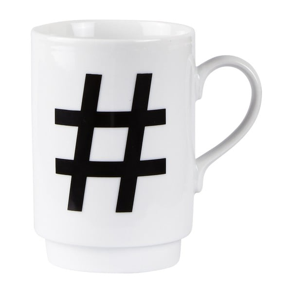 Porcelánový písmenkový hrnek KJ Collection Hashtag, 250 ml