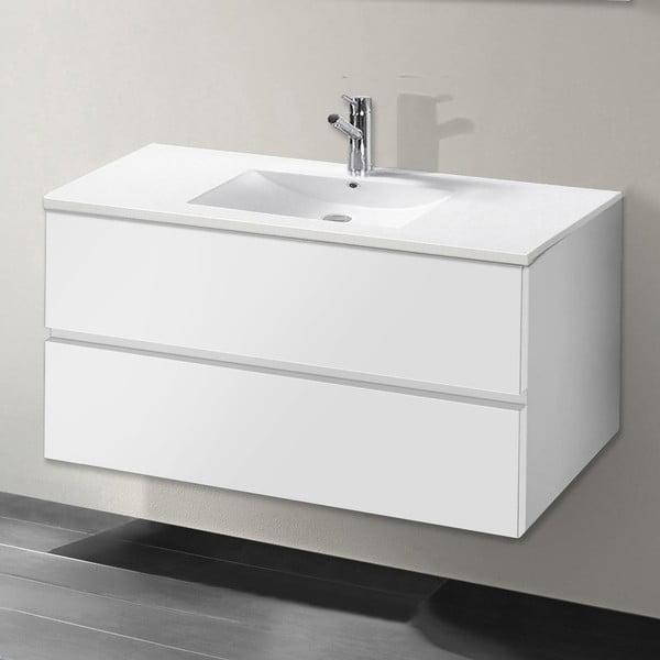 Koupelnová skříňka s umyvadlem a zrcadlem Flopy, odstín bílé, 90 cm