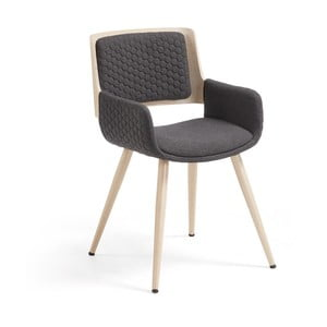 Tmavě šedá židle s dřevěným podnožím a područkami La Forma Andre