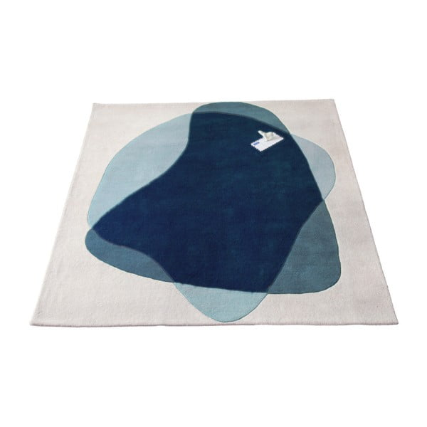 Covor din lână HARTÔ Serge, 180 x 220 cm, albastru - gri