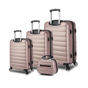 Sada 3 růžových cestovních kufrů na kolečkách s USB porty a příručního kufříku My Valice RESSO Travel Set