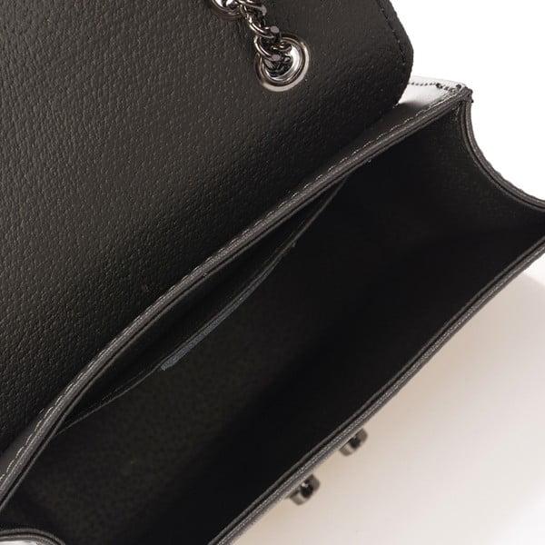 Šedá kožená kabelka se stříbrným řetízkem Giulia Massari