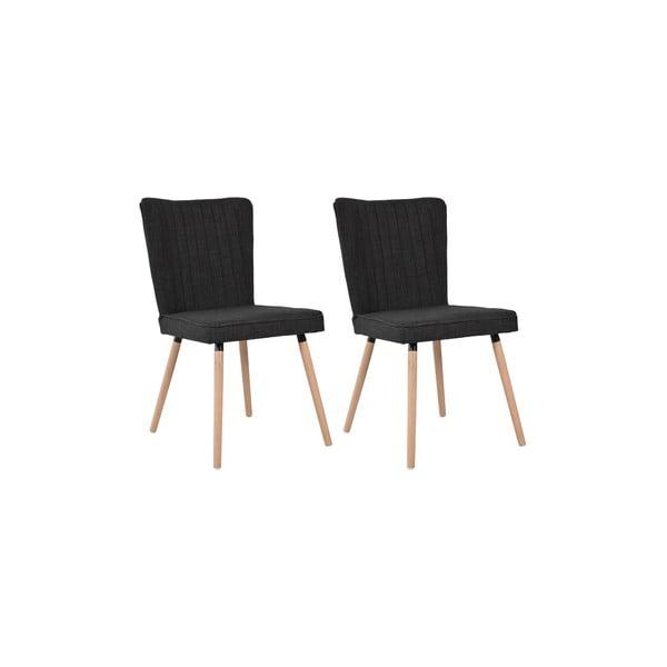 Sada 2 jídelních židlí Nils, černý potah/dubové nohy