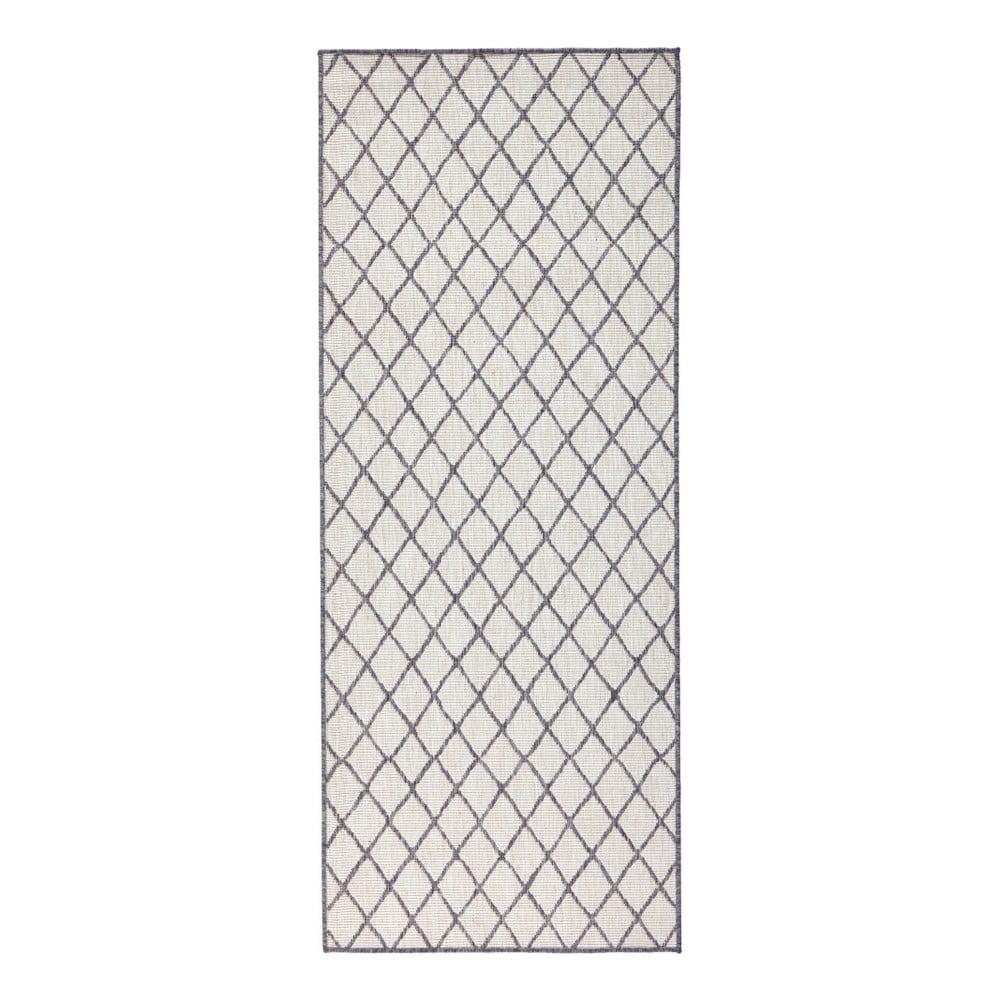 Šedý vzorovaný oboustranný koberec Bougari Malaga, 80x250 cm