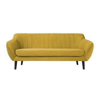 Canapea cu 3 locuri și picioare negre Mazzini Sofas Toscane, galben