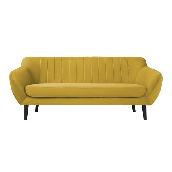 Žlutá sametová pohovka Mazzini Sofas Toscane, 188 cm
