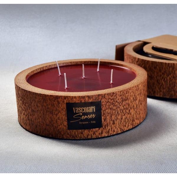 Palmová svíčka Legno Round s vůní exotického ovoce, 80 hodin hoření