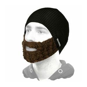 Černá čepice Beardo s hnědým plnovousem