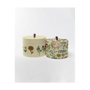 Kulaté úložné krabice Surdic Round Boxes Botanica s motivem rostlin, 30 x 30 cm