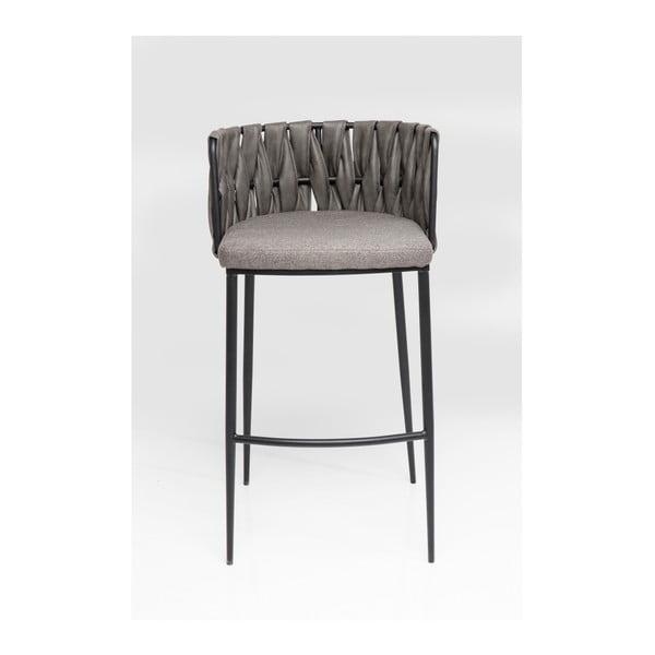 Sada 2 barových židlí s šedým potahem a nohami z bukového dřeva Kare Design