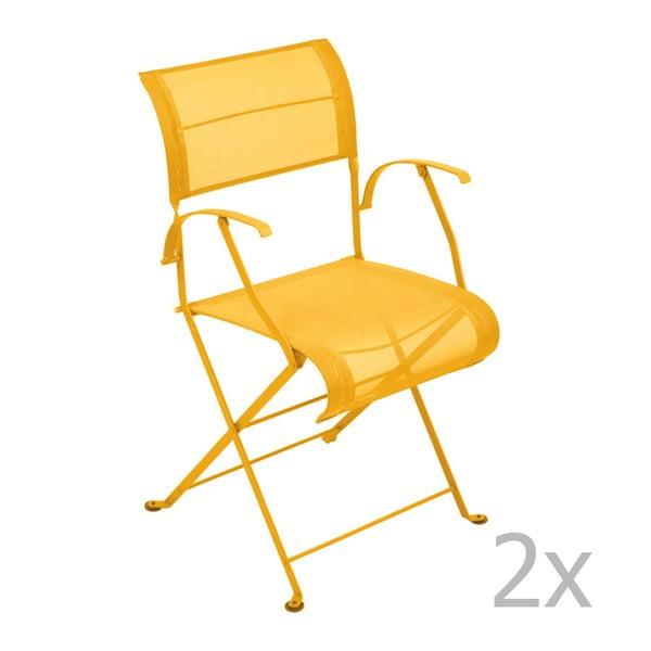 Sada 2 žlutých skládacích židlí s područkami Fermob Dune