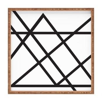 Tavă decorativă din lemn Lines, 40x40cm