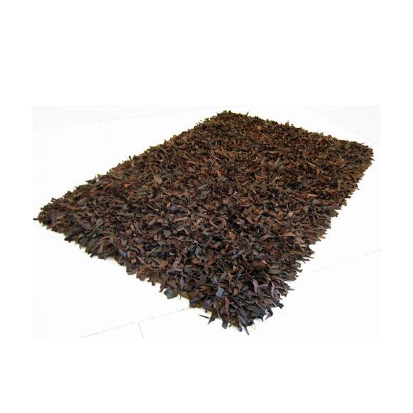 Kožený koberec Shaggy 140x200 cm, hnědý