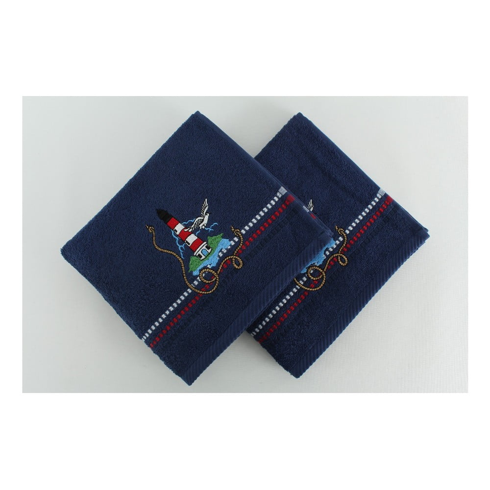 Sada 2 bavlněných osušek Marina Dark Blue Denis, 50 x 90 cm
