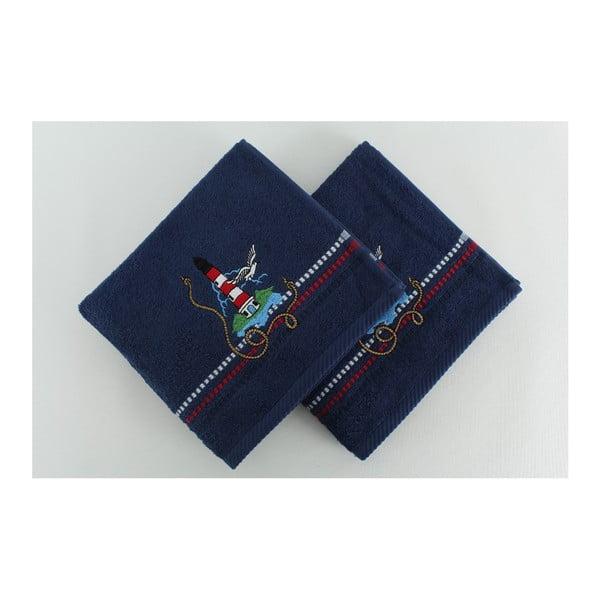 Sada 2 tmavomodrých bavlnených osušiek Marina Denis, 50 × 90 cm