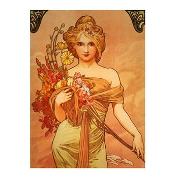 Reproducere pe pânză după Alfons Mucha - Bouquet, 40 x 55 cm