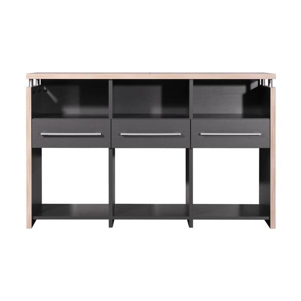 Šedý stůl sezásuvkami apolicemi Germania Greyhound, 40x123cm