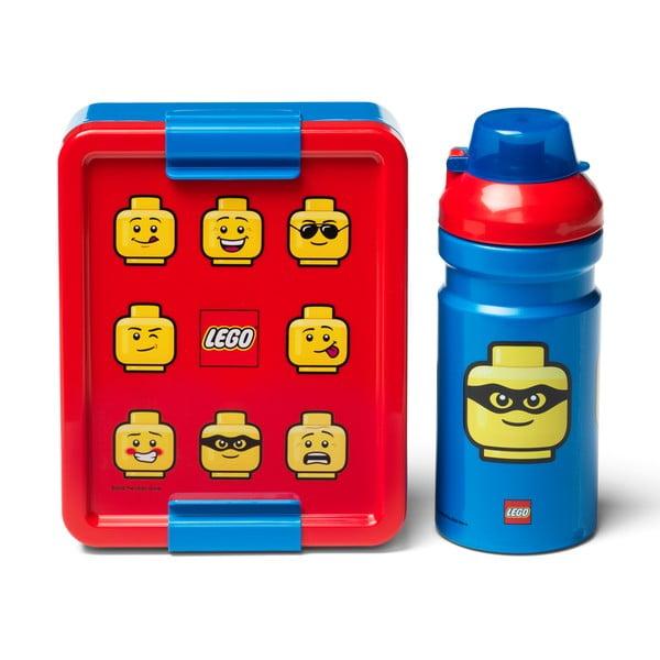 Set červeno-modrého svačinového boxu a lahve na pití LEGO® Iconic