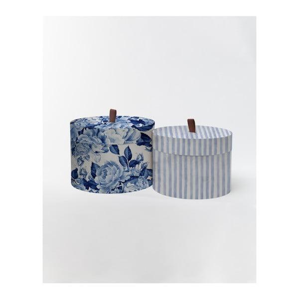 Sada 2 kulatých úložných boxů ze sametu Velvet Atelier Flowerina