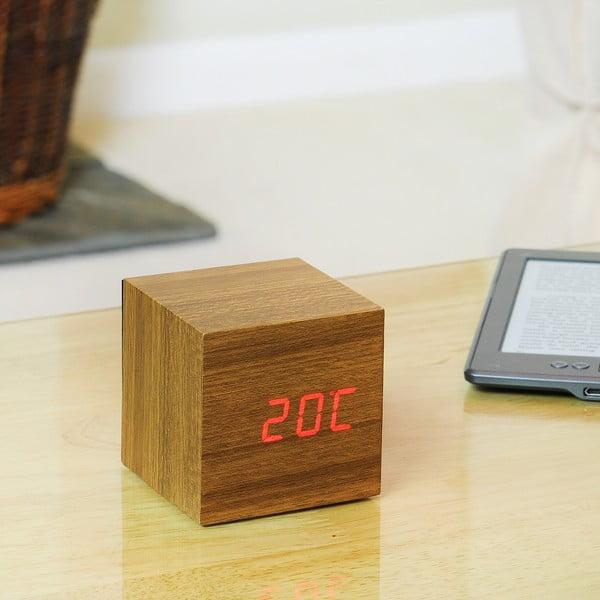 Ceas deșteptător cu display LED roșu Gingko Cube Click Clock, maro