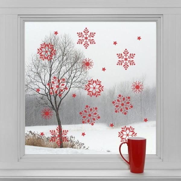 Elektrostatické vánoční samolepky Červené vločky
