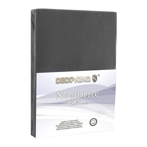Tmavě šedé elastické prostěradlo DecoKing Nephrite, 180–200 cm