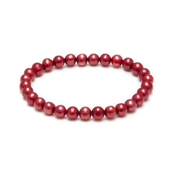 Náramek z říčních perel Freshwater, červený