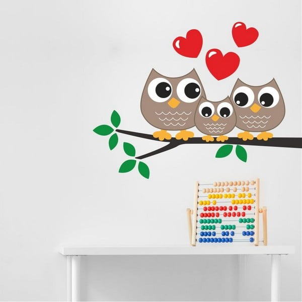 Owl Family dekoratív falmatrica